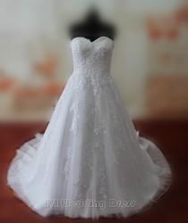 wedding photo -  Real Samples Droped Waist Lace Wedding Dresses Lace-up Wedding Gowns Sweetheart Bridal Gowns Plus Size Bridal Dress