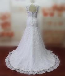 wedding photo -  Real Pictures Mermaid Wedding Dresses Cap Sleeves Wedding Gowns Bridal Gowns with Lace Bridal Dress