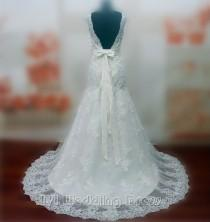 wedding photo -  Real Pictures Sexy V-neck Wedding Dresses with Sash and Appliques Bridal Gowns with Train Custom Made Plus Size