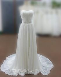 wedding photo -  Real Samples Sexy Strapless Beach Wedding Dresses Sheth Bridal Gowns with Beadings Evening Dress Prom Gown