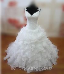 wedding photo -  Real Samples Ruffled Wedding Dresses Sexy V-neck Spaghetti Bridal Dresses Corset Bridal Gowns Vestido De Novia
