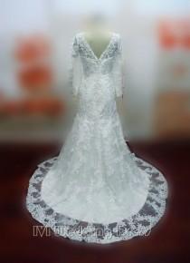wedding photo -  Custom Made Long Sleeves Mermaid Wedding Dress Full Sleeves Lace Bridal Gown Vestido De Noiva