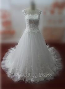 wedding photo -  Real Samples Jewelry Neckline Wedding Dress with Lace Chapel Train Bridal Gown with Appliques Zipper Closure Wedding Gown with Buttons