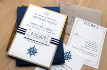"wedding photo - Destination Wedding Invitations, Wedding Invitations, Nautical Wedding Invitations, Beach Wedding - ""Nautical Bliss"" Sample"