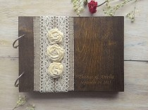 wedding photo - Wooden Guestbook, Wedding Guest Books, Burlap Lace guest book Rustic GuestBook, Custom wedding guestbook, Rustic Wedding Guest Book