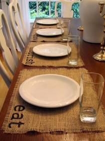 wedding photo - Burlap Place Mats Set Of Four (eat, Chow, Relish, Nourish)