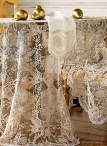 wedding photo - Chantilly Lace Tablecloth, Runner, Placemat, & Napkin