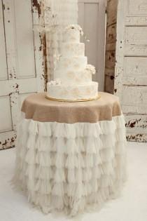 wedding photo - Ivory Petals And Burlap Tablecloth - Vintage Weddings