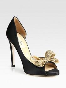wedding photo - Valentino - Satin Jeweled Bow D'Orsay Platform Pumps