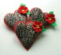 wedding photo - Rockabilly Tattoo Heart Brooch Leopard Print Pin