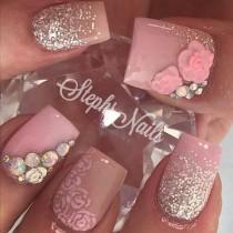 "wedding photo - Stephanie Loesch On Instagram: ""#floralnails#nude#pink#roses#silver#glitter#glitterombre#love#cutenails#stephsnails#lodinails#acrylicnails#flowers#glitter#pink#agirlsfavorites#stephset"""