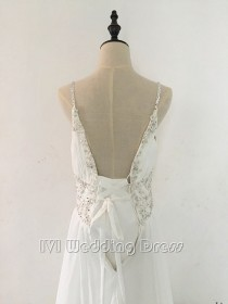 wedding photo -  Real Photos Beaded Spaghetti Straps Pleated Chiffon Beach Wedding Dress with Sequins Evening Dress