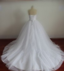 wedding photo -  Real Wedding Dresses with Pearls Sweetheart Bridal Gowns with Sequins Lace-up Wedding Gowns