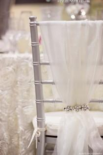 wedding photo - Tulle And Sparkly Chair Cover.