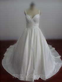 wedding photo -  Real Samples Plus Size Princess Wedding Dresses Spaghetti Straps Wedding Gowns Chapel Train Bridal Gowns Custom Made Bridal Dress Ball Gown