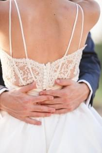 wedding photo -  Awesome Back Details Lace And Taffeta Backless Wedding Dresses Outdoor Garden Spaghetti Straps A-line Sweep/Brush Train Bridal Gown Online with $125.66/Piece on Gama's Store