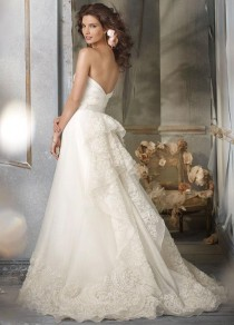 wedding photo -  Gorgeous Tiered Back Details Sweetheart Wedding Dress with Lace Chapel Train Zipper Back Closure Bridal Dress with Sash Online with $178.02/Piece on Gama's Store