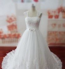 wedding photo -  Real Samples A-line Wedding Dress with Bow, Long Train Bridal Gown with Shawl