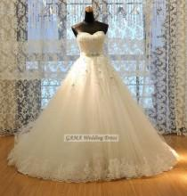 wedding photo -  Chic Wedding Dress with Sequin and Lace Bridal Gown with Beaded Sash Custom Made