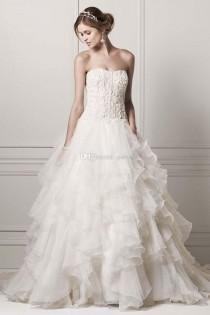 wedding photo -  Plus Size Wedding Dresses with Corset Bodice And Beadings Strapless Floor Length Chapel Train Bridal Gown with Rich Ruffles Online with $198.96/Piece on Gama's Store