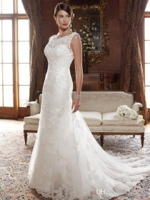 wedding photo -  Lace Wedding Dresses ELegant Jewel Neckline Chapel Train Bridal Gowns with Beadwork Sequins And Embroidery Wedding Gown Online with $136.15/Piece on Gama's Store