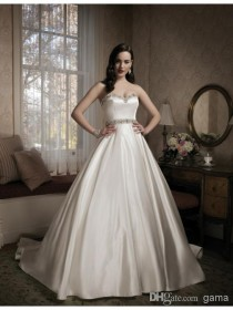 wedding photo -  Hot Top Sell Luxurious Satin A Line Wedding Dress Sweetheart Neckline Silk Metallic Beaded Belt Bridal Gown Online with $146.6/Piece on Gama's Store