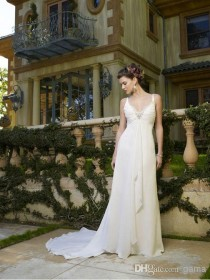wedding photo -  Sexy Ruched V-neck with Beadings Graceful Sheath/Column Summer Chiffon Beach Wedding Dresses with Center Front Draping Custom Made Size Online with $104.72/Piece on Gama's Store
