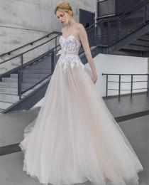 wedding photo -  Sweetheart Neckline Court Train Lace Bodice with Sash And Bow Boho Wedding Dress 2016 Bridal Gown Online with $146.6/Piece on Gama's Store