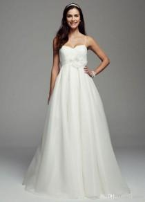 wedding photo -  Organza Spaghetti Straps Empire Waist Summer Beach Wedding Dress with Hanmade Flower on the Waist Plus Size Bridal Gown Online with $108.91/Piece on Gama's Store