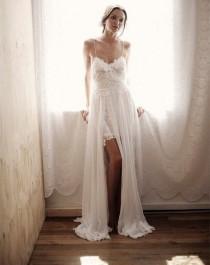 wedding photo -  Big Sale Spaghetti Tulle and Lace Boho Beach Wedding Dress Summer Bridal Gown