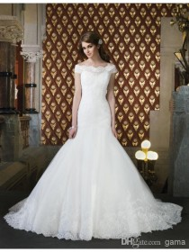 wedding photo -  Lace Tulle A-Line Wedding Dresses Off-Shoulder Neckline Drop Waist Bridal Gowns Ruched Chapel Train Dress Satin Fabric Buttons Cover Zipper Online with $158.02/Piece on Gama's Store