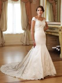wedding photo -  Off-shoulder with Lace Appliques Mermaid Wedding Dresses with Bow on the Train Renaissance Style Bridal Gowns Online with $157.07/Piece on Gama's Store