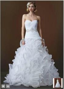 wedding photo -  Sweetheart Chapel Train Zipper Back Closure White Organza Wedding Dresses with Pencil Edged Ruffles And Beadings on the Waist Bridal Gowns Online with $157.07/Piece on Gama's Store