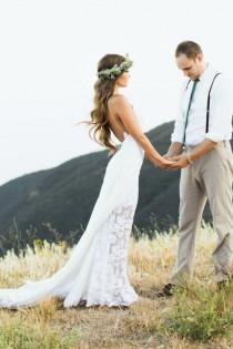 wedding photo -  Bohemian Wedding Dress with Side Split Spaghetti Straps Boho Wedding Gown White/Ivory Beach Bridal Dress Custom Size Made Online with $115.19/Piece on Gama's Store