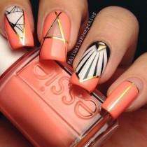 wedding photo - Peach Negative Space Nails