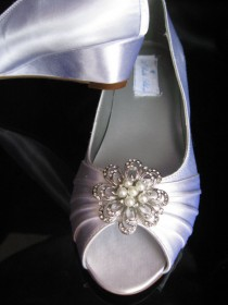 wedding photo - Wedding Shoes Wedge Shoes Bridal Wedges with Crystal Brooch Dyeable Shoes Pick Your color