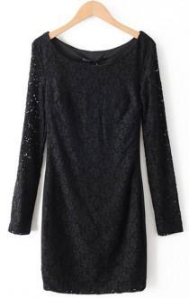 Black Hollow Lace Long Sleeve Round Neck Dress - Sheinside.com a634ccaf4