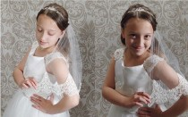 wedding photo - Communion veil in single layer with beaded lace edge, Confirmation lace veil, Flower girl wedding lace veil,  Children's bridal veil