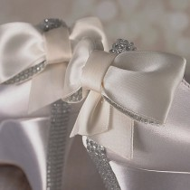wedding photo - Ivory Wedge Wedding Shoes / Bridal Heels Wedge / Bling Bow / Crystal Heel