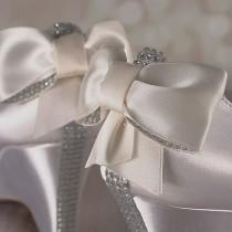 wedding photo - Ivory Wedge Wedding Shoes / Bridal Heels Wedge / Bling Bow / Crystal Heel