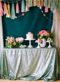 wedding photo - Mint Sequin Sequin Tablecloth