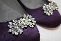 wedding photo - Wedding Flats - Flat Wedding Shoes - 14 Color Choices- Swarovski Sparkling Crystal - Ballet Flats- Purple Flats - Bridal Flat Shoes