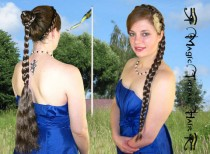 wedding photo - CUSTOM color BRAID 20''/ 50 cm long plait PONYTAIL hair piece extension Renaissance medieval Rapunzel wig Wedding bride wavy hair fall
