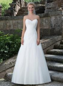 wedding photo -  Asymmetrically Ruched Sweetheart Neckline Tulle A-line Wedding Dresses Lightly Beaded Chaple Train Zipper Back with Buttons Bridal Gowns Online with $146.6/Piece on Gama's Store