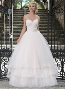 wedding photo -  Ruched Tulle Sweetheart Neckline Pastel Ball Gown Wedding Dresses 3 Tiered Bridal Gowns with Full Tulle Skirt And Beaded Belt Online with $157.07/Piece on Gama's Store