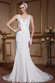 wedding photo - Elegant Fishtail Sleeveless Lace Ivory Wedding Gown- AU$ 1,152.32 - DressesMallAU.com