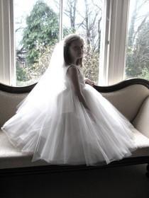 wedding photo - Vintage style first communion veil -  English tulle  first communion veil - Angelic