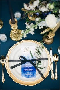 wedding photo - Navy And Gold Watercolor Inspiration