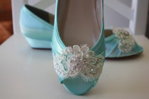 wedding photo - Handmade Lace Wedge Wedding Shoe -Choose From Over 100 Colors - Aqua Blue Wedding Shoes  - Lace Wedding Wedge Bridal Shoe Wedding Wedge