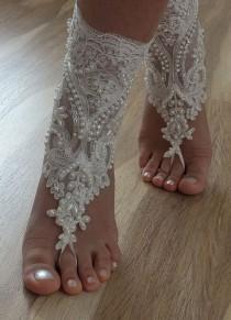 wedding photo - Beach Shoes, FREE SHIP Unique Design, Bridal Sandals, Lariat Sandals, Wedding Bridal, Ivory Accessories, Wedding Shoes, Summer Wear